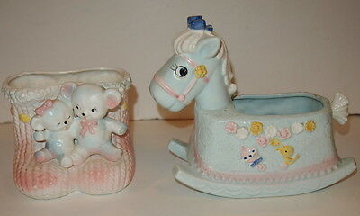Vintage Napco 9940 Rocking Horse & Unknown E-2557 Bears BABY Nursery Planters