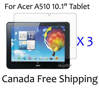 3 X Clear Glossy Screen Protector Cover for 10.1 inch Acer A510 Tablet