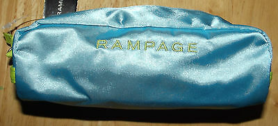 NWT Rampage Teal and Lime Green Small Zippered Make up or Pencil Bag Case