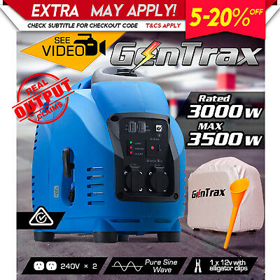 NEW GenTrax Max 3.5kVA KW Rated 3.0 GENERATOR Pure Sine Inverter Portable Petrol