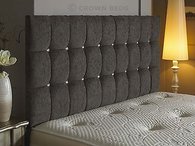 omega diamonte chenille headboard in 2ft6,3tf,4ft,4ft6,5ft,6ft  A1 price on ebay
