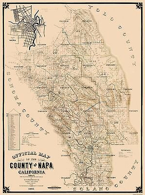 Old County Map - Napa California Landowner - 1895 - 23 x 30.81