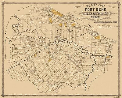 Old County Map - Fort Bend Texas Landowner - 1882 - 28.75 x 23