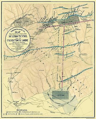 Old Mining Map - Sultro Tunnel, Comstock Lode Nevada - 1866 - 23 x 28.44