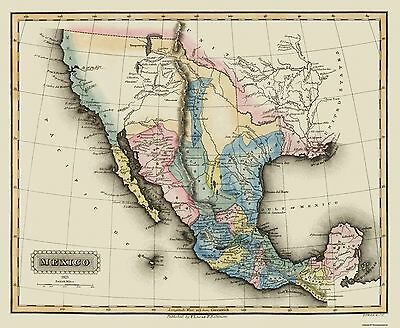 Old State Map - Texas Territory - Lucas 1823 - 28 x 23