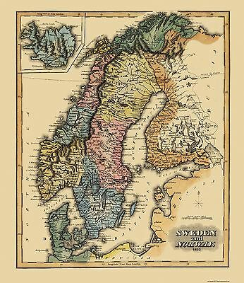 Old Scandanavia Map - Sweden and Norway - Lucas 1823 - 23 x 26.56