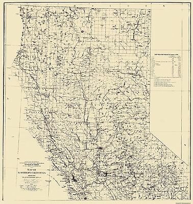 Old Mining Map - Placer Mining Areas In Northern California 1932 - 23x24