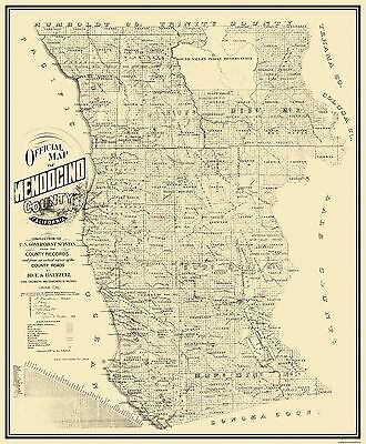 Old County Map - Mendocino California - Rice 1890 - 23 x 27.81