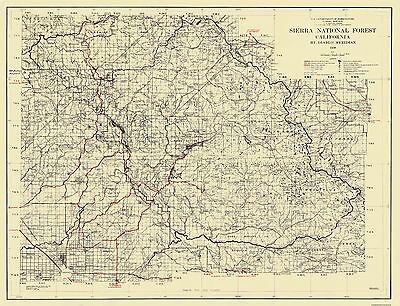 Old State Map - Sierra National Forest, California - USFS 1938 - 30 x 23