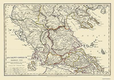 Old Greece Map - Northern Part, Ancient Greece - 1844 - 32.63 x 23