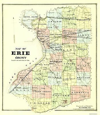 OLD MAP OF Erie Pennsylvania 1909 Erie County Poster Print (18 x 24 Map Of Erie County Pa on