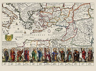 Old Mediterranean Map - Apostles,Travels and Voyages - Loivther 1680 - 31 x 23