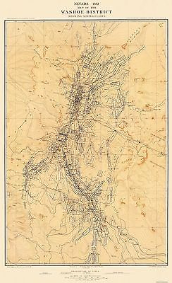 Old Mining Map - Washoe Mining District Claims Nevada - USGS 1882 - 23 x 37.63