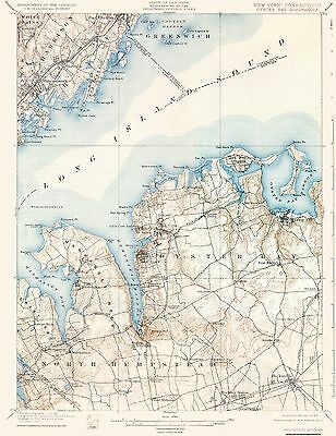 TOPOGRAPHICAL MAP - Oyster Bay New York, Conneticut Quad - USGS 1900 on
