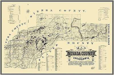 Old Mining Map - Nevada County California - Hartwell 1880 - 23 x 34.69