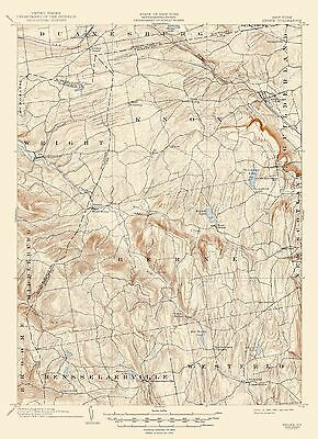 Topographical Map Print - Berne New York Quad - USGS 1903 - 17 x 23.44