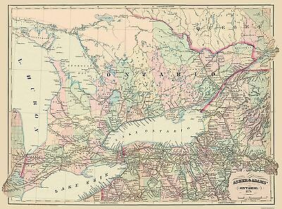 Old Canada Map - Ontario - Asher 1874 - 31 x 23