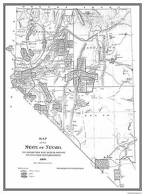 Old State Map - Nevada - Dept of Interior 1866 - 23 x 30.74