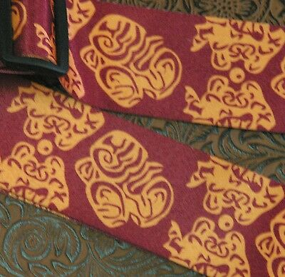 GUITAR STRAP, NEW, LEATHER ENDS, Burgundy Red & Gold, PATTERNED.