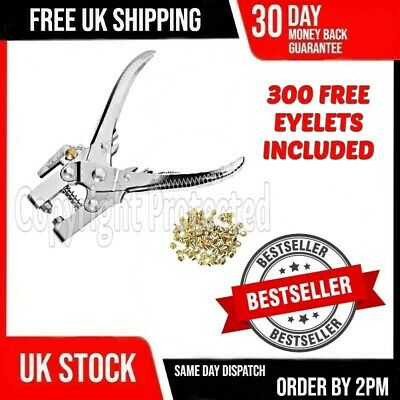 Heavy Duty Eyelet Pliers Hole Punch Tool 300 Eyelets Grommets Brass Leather 17
