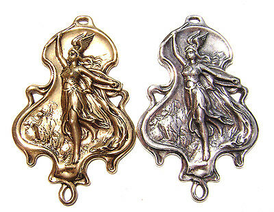 1589 Antiqued Brass Sterling Silver Woman Warrior Mythology Centerpiece Pendant