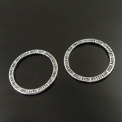 60pcs Vintage Style Silver Tone Alloy Round Motto Charm Penadnt Hot 02931