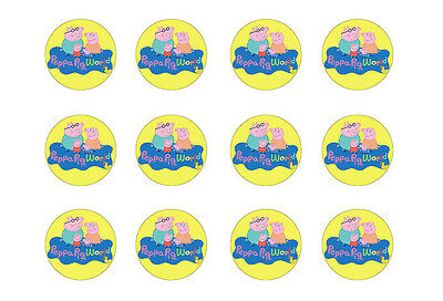"PEPPA PIG CUPCAKE TOPPERS 12 x 2"" CIRCLES EDIBLE ICING PARTY DECORATION IMAGE"
