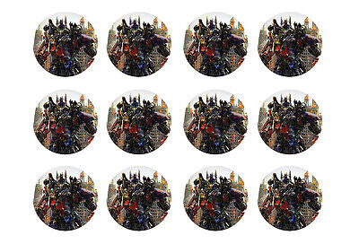 "TRANSFORMERS CUPCAKE TOPPERS 12 x 2"" CIRCLES EDIBLE ICING PARTY DECORATION IMAGE"