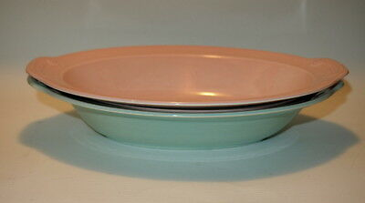2 Vintage Pastel LuRay Oval Serving Bowls / Green & Pink