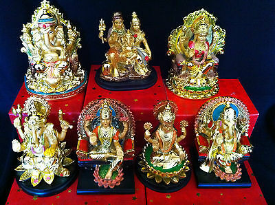 Hindu  Deity  7 Different God & Goddess Murti In Gold Colour Statue  In Resins