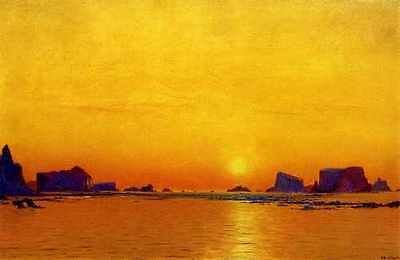 Bradford William Ice Floes Under The Midnight Sun A3 Box Canvas