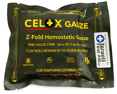 Celox Z-Fold 5 ft Gauze Stop Bleeding Fast Trauma Bandage First Aid Military