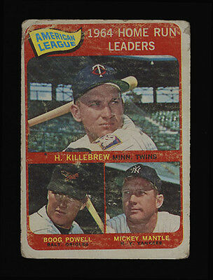 1965 TOPPS O-PEE-CHEE ~ #3 ~ 1964 HOME RUN LEADERS ~ MANTLE, KILLEBREW, POWELL
