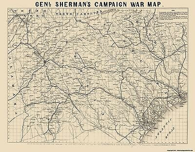 Civil War Map - General Shermans Campaign  - Bufford 1860s - 23 x 29.43