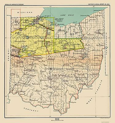 Old State Map - Ohio Indian Cessation - USGPO 1899 - 23 x 24.57