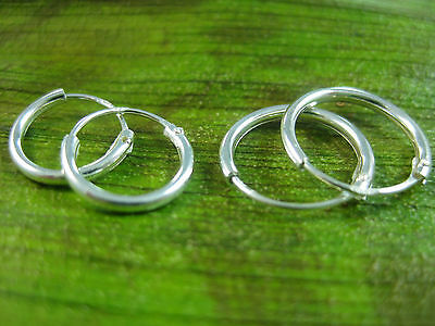 """2pairs"" - 925 sterling silver small 10mm 12mm SLEEPERS HOOPS earrings - UNISEX"
