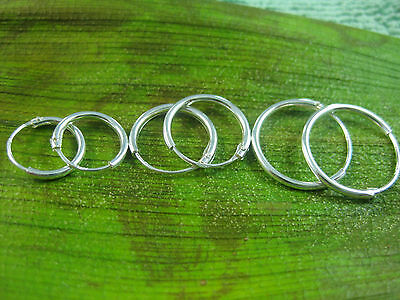 REAL925 sterling silver small 10mm 12mm 14mm plain round sleepers hoops earrings