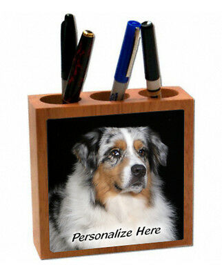 Australian Shepherd   blue merle   ( 18 )   Personalized  Pencil and Pen Holder