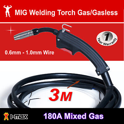 MIG Welder Welding Torch Gun Mid Steel Aluminium Stainless Built in gas valve