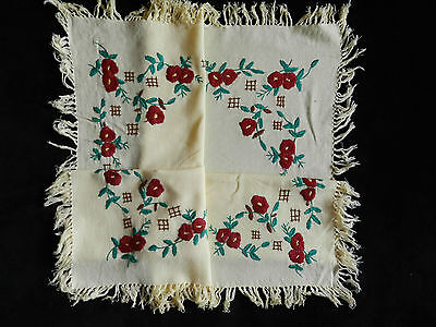 """vintage tablecloth hand embroidered. Dimensions  25""""/29.5""""   n3343"""