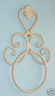 Wrought Iron Bathroom Accessories - Heart Holder - Wall Towel Ring Cream BA10