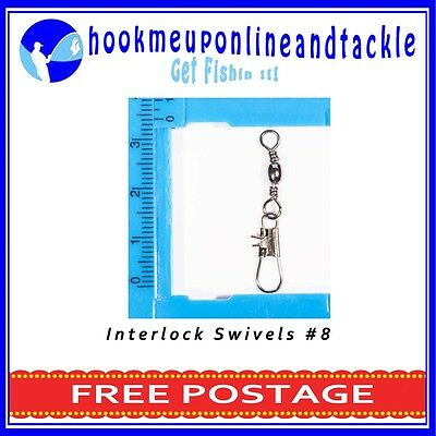 Packs of 50 Interlock Barrel Swivels in Different Size Packs Fishing Tackle