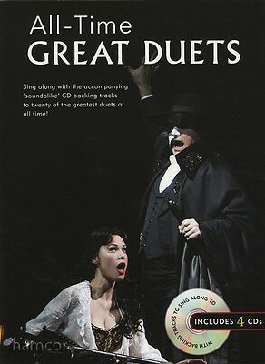 All-Time Great Duets Sing-Along Piano Vocal Voice Singing Music Book/4CDs