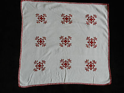 """vintage hand embroidered tablecloth small. Dimensions: 21.6""""/20.2""""  n3384"""