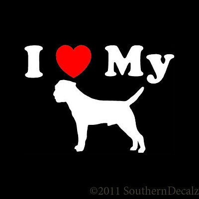 """I Heart My Border Terrier Dog Love - Decal Sticker - 24 Colors - 5.2"""" x 3.75"""""""