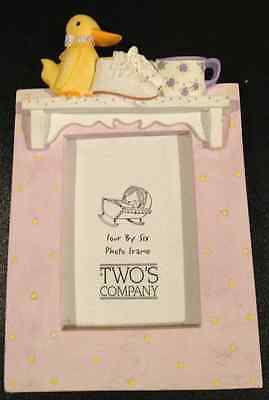 two's company 4x6 baby duck ceramic picture frame VERY NICE!