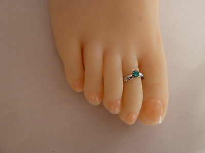 925 Sterling Silver (plated)Toe Ring, Blue,Clear,Amber Buy 2, Get the 3rd Free.