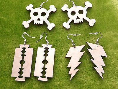 Wooden earrings kit natural plain woodrcrafts laser skull, razor blade,lightning