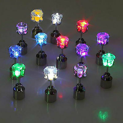 2pcs Led Stainless Shiny Fashion Earrings (1 pair) Light Party Glowing Crystal