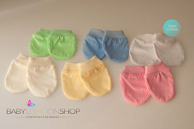 Newborn Baby Scratch Mittens, Mitts, Beautiful Colours, 100% Cotton!!!!